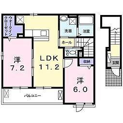 JR徳島線 小島駅 徒歩32分の賃貸アパート 2階2LDKの間取り