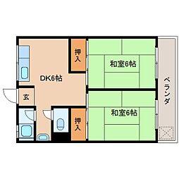 近鉄生駒線 竜田川駅 徒歩2分の賃貸マンション 2階2DKの間取り