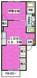 広島県広島市安佐南区大町西3丁目の賃貸アパートの間取り