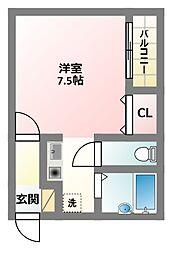 大阪府寝屋川市池田本町の賃貸アパートの間取り