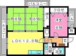 福岡県春日市岡本6丁目の賃貸マンションの間取り