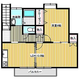 岡山県岡山市東区浅越の賃貸アパートの間取り