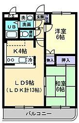 香川県高松市小村町の賃貸マンションの間取り