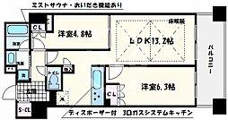 ローレルタワー心斎橋 4階2LDKの間取り
