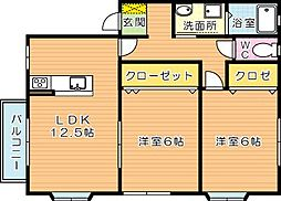 レジデンスカームIII[2階]の間取り