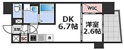 セレニテ谷九プリエ 5階1DKの間取り