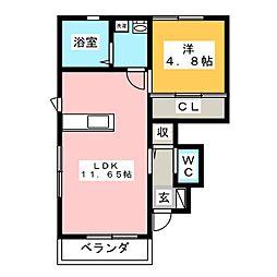 MDイーストII[1階]の間取り