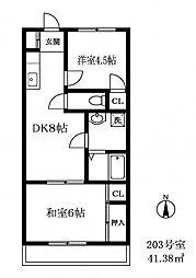 東京都世田谷区中町3丁目の賃貸マンションの間取り