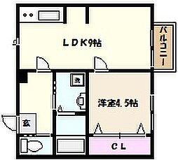 兵庫県神戸市東灘区住吉山手1丁目の賃貸アパートの間取り