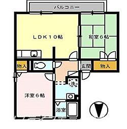 メゾネットクレールA棟[2階]の間取り