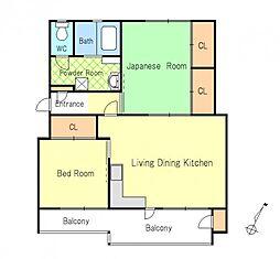 神奈川県横浜市南区別所中里台の賃貸アパートの間取り