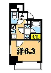 LUXENA東品川 7階1Kの間取り
