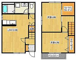 [テラスハウス] 岡山県岡山市中区高屋 の賃貸【/】の間取り