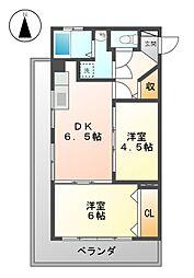 愛知県名古屋市瑞穂区東栄町4丁目の賃貸マンションの間取り
