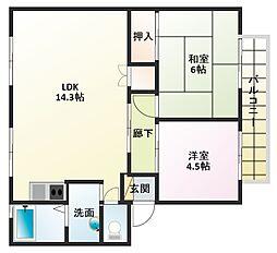 サンハイツ新井C棟[2階]の間取り