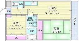 奥江ビルガーデングレース 4階2LDKの間取り
