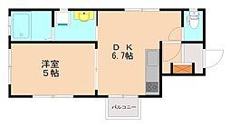 西鉄天神大牟田線 大橋駅 徒歩10分の賃貸マンション 2階1LDKの間取り