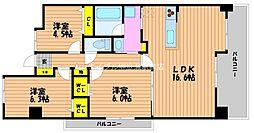 岡山県岡山市北区今1丁目の賃貸マンションの間取り