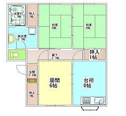 長野県飯田市松尾寺所の賃貸アパートの間取り