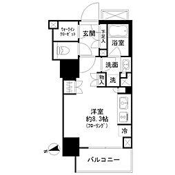 都営三田線 御成門駅 徒歩7分の賃貸マンション 13階ワンルームの間取り