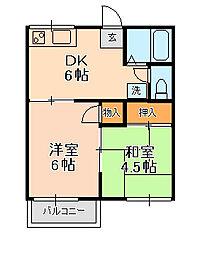 ファミーユ佐津間[203号室]の間取り