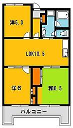 753マンション[6階]の間取り
