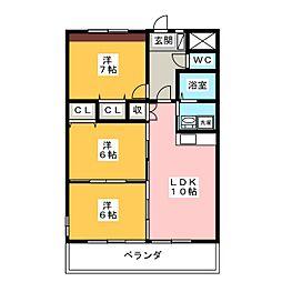 リバーズマンション築捨[3階]の間取り