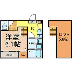 愛知県名古屋市西区栄生2丁目の賃貸アパートの間取り