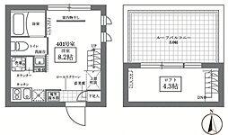 JR山手線 御徒町駅 徒歩10分の賃貸マンション 4階ワンルームの間取り