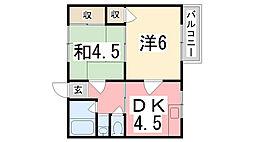 喜多マンション[201号室]の間取り