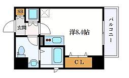 名古屋市営名城線 東別院駅 徒歩3分の賃貸マンション 7階ワンルームの間取り