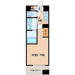 コンフォートレジデンス仙台東口 4階1Kの間取り