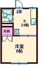 神奈川県横浜市神奈川区六角橋1の賃貸アパートの間取り