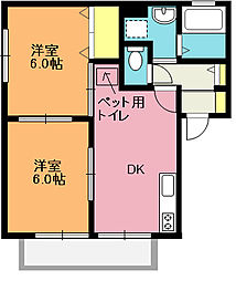 埼玉県北本市本宿5丁目の賃貸アパートの間取り