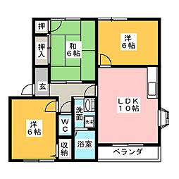 ステージ21 B棟[1階]の間取り