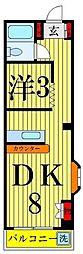 ベルハイム大谷田[402号室]の間取り