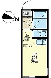 神奈川県横浜市金沢区富岡東6丁目の賃貸アパートの間取り