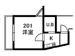 二俣川駅徒歩5分 ハイツ蘭丸101号室[101号室]の間取り