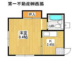JR加古川線 社町駅 バス18分 山国南山.下車 徒歩3分の賃貸アパート 2階1Kの間取り
