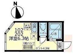 ユナイト田浦ベラクルス・メヒコ[102号室]の間取り