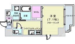 アール大阪グランデ 4階1Kの間取り