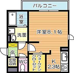 ヴィアンジュ黒崎[2階]の間取り