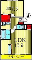 千葉県柏市南増尾4丁目の賃貸アパートの間取り