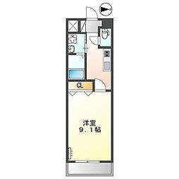 熊本電気鉄道 黒髪町駅 徒歩7分の賃貸アパート 2階1Kの間取り