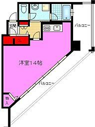 CERNE新町(セルン新町) 11階ワンルームの間取り