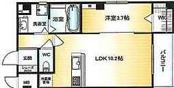 Osaka Metro千日前線 北巽駅 徒歩15分の賃貸マンション 2階1LDKの間取り