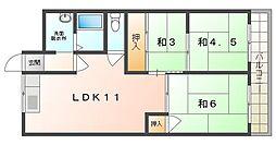 若草第1マンション 5階3LDKの間取り