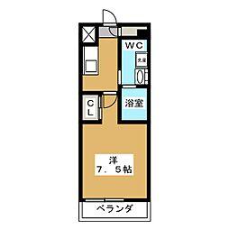ベルグレードKAMEIDO 4階1Kの間取り