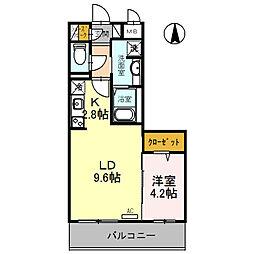(仮)D-room旭ケ丘町 4階1LDKの間取り
