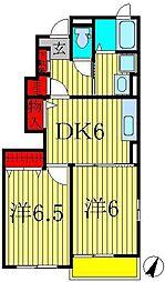 千葉県柏市手賀の杜5丁目の賃貸アパートの間取り